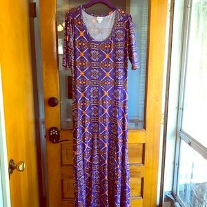 Lularoe Ana Xl purple orange geometric Aztec